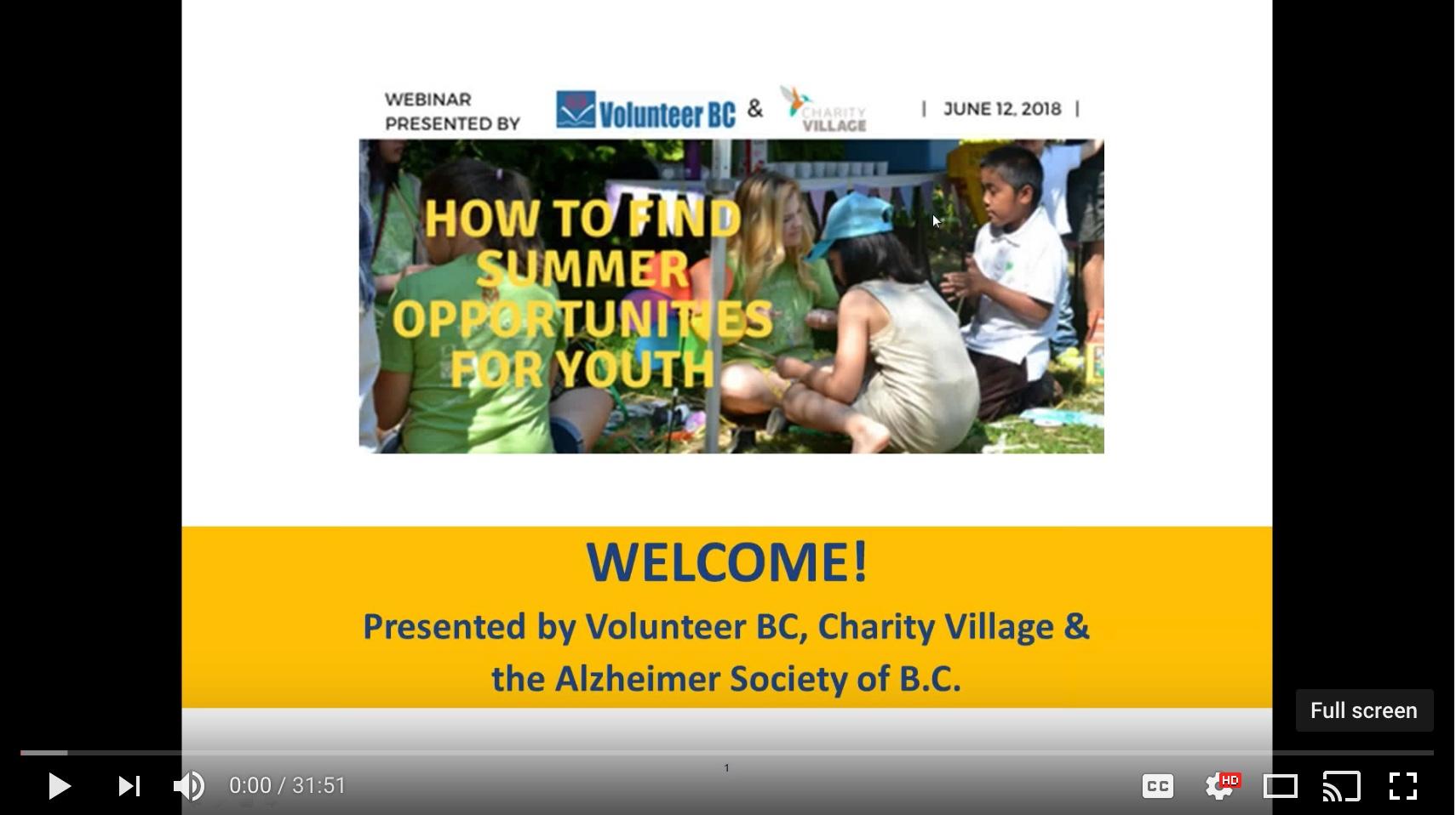 Youtube - How to Find Summer Volunteer Opportunities